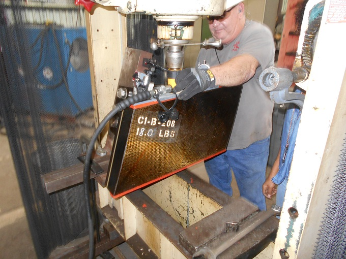 Shop personnel assist PWT in completion of blade spacer testing