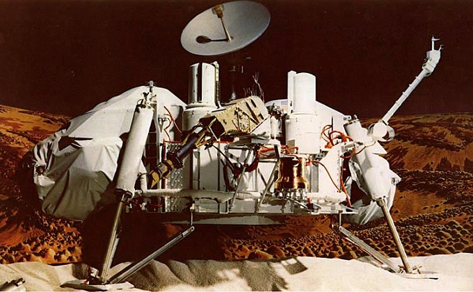 The Viking 1 Lander depicted here was the first NASA system to land on Mars June 20, 1976. AEDC conducted tests for the entry vehicle parachute system. (NASA image)